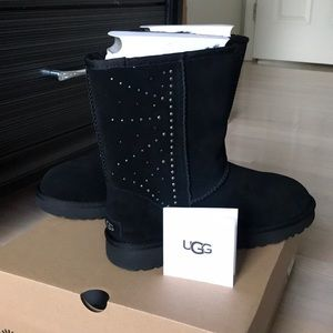 UGG Classic Short Black Studded Boot